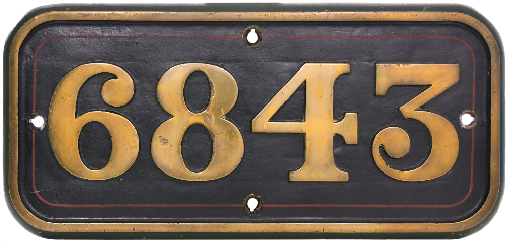 GWR brass cabside numberplate, 6843