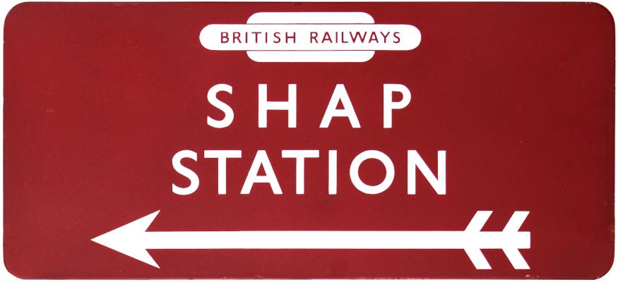 Shap Station BR(M) station direction sign
