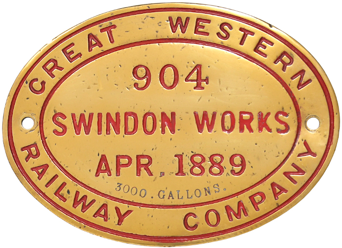 GWR brass tender plate 904
